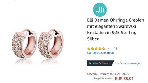 Elli Damen Creolen Ohrringe mit eleganten Swarovski Kristallen in 925 Sterling Silber, rose gold - jetzt 28% billiger