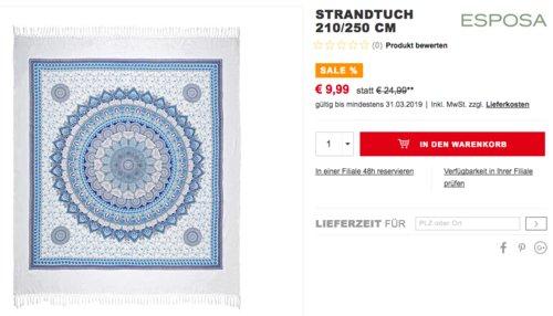 ESPOSA Ornament Strandtuch 210/250 cm, 100 % Baumwolle - jetzt 60% billiger