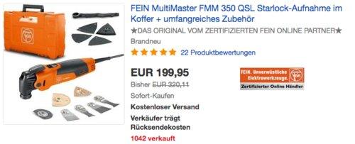 FEIN MultiMaster FMM 350 QSL Top im Koffer inkl. Zubehör - jetzt 10% billiger