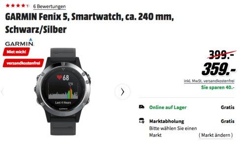 GARMIN Fenix 5 Smartwatch, 24 cm, schwarz/silber - jetzt 10% billiger
