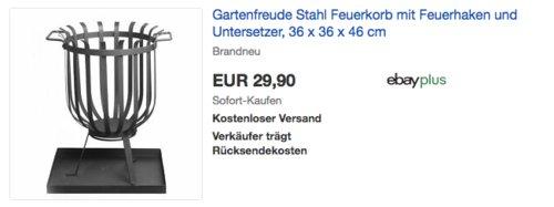 Gartenfreude Feuerkorb mit Untersetzer, 36 x 36 x 46 cm - jetzt 15% billiger