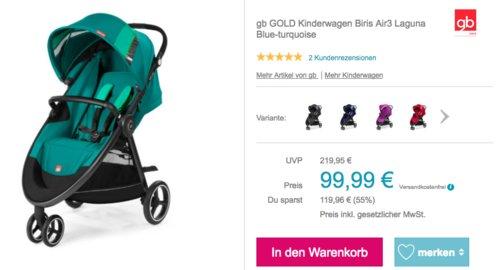 gb GOLD Kinderwagen Biris Air3, Laguna Blue-Turquoise - jetzt 44% billiger