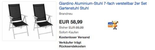 Giardino Aluminium-Gartenstuhl 2er Set, 7-fach verstellbar - jetzt 26% billiger