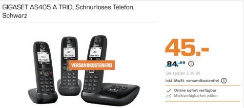 GIGASET AS405 A TRIO Schnurloses Telefon-Set inkl. Anrufbeantworter, 3 Mobilteile - jetzt 40% billiger