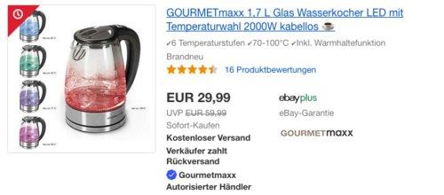 GOURMETmaxx 07956 1,7 L Glas-Wasserkocher mit Temperaturwahl, 70-100°C - jetzt 25% billiger