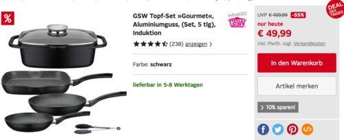 """GSW Pfannen-Set """"GOURMET"""", 5-teilig - jetzt 20% billiger"""