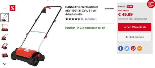 """HANSEATIC Elektro-Vertikutierer """"EV 1201-31 ZV"""", 31 cm Arbeitsbreite - jetzt 20% billiger"""