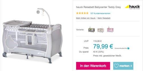 hauck Reisebett Babycenter Teddy Grey, 120 x 60 cm Liegefläche - jetzt 19% billiger