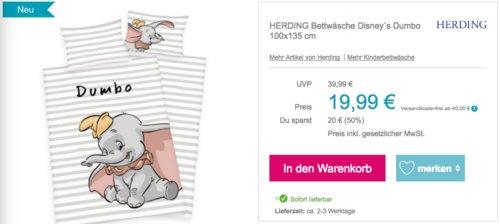 "HERDING Bettwäsche-Set ""Disney´s Dumbo"", 100x135 cm/40 x 60 cm - jetzt 17% billiger"