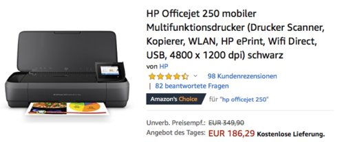 HP Officejet 250 mobiler Multifunktionsdrucker (WLAN, HP ePrint, Wifi Direct, USB, 4800 x 1200 dpi) - jetzt 16% billiger
