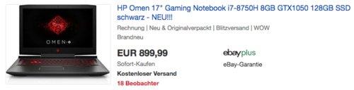 "HP Omen 17"" Gaming Notebook (17-an162ng), Intel i7-8750H, 8GB RAM, GTX1050, 128GB SSD - jetzt 11% billiger"
