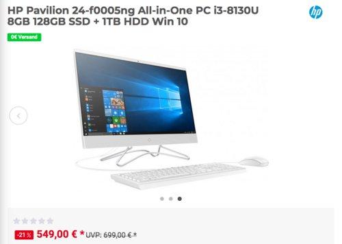HP Pavilion 24-f0005ng All-in-One PC (i3-8130U, 8GB,128GB SSD + 1TB HDD, Win 10) - jetzt 21% billiger
