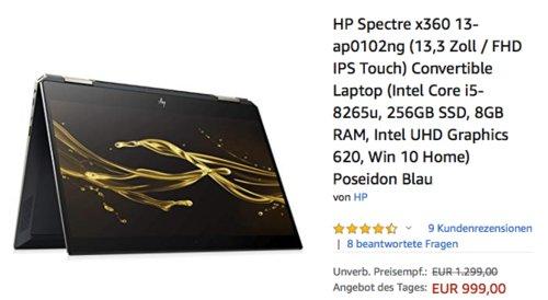 HP Spectre x360 13-ap0101ng 13,3 Zoll Convertible Laptop (i5-8265u, 256GB SSD, 8GB RAM, Win 10 Home) Poseidon Blau - jetzt 17% billiger