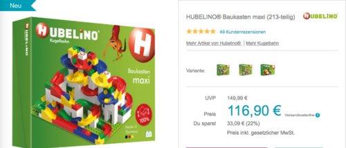 HUBELINO® Baukasten Kugelbahn maxi (213-teilig) - jetzt 9% billiger