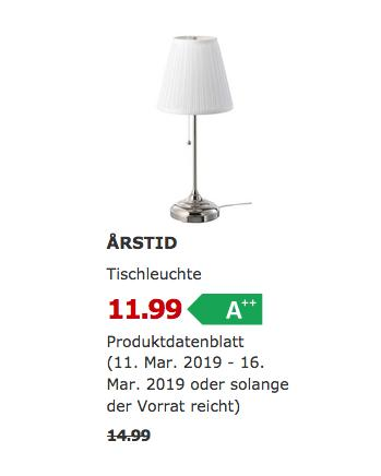 IKEA ARSTID Tischleuchte, weiß,55 cm hoch - jetzt 20% billiger