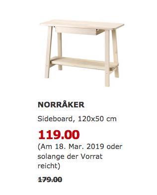 IKEA Augsburg - NORRAKER Sideboard, weiß Birke, 120x50 cm - jetzt 34% billiger