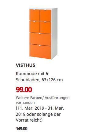 IKEA Berlin-Lichtenberg - VISTHUS Kommode mit 6 Schubladen, 63x126 cm - jetzt 34% billiger