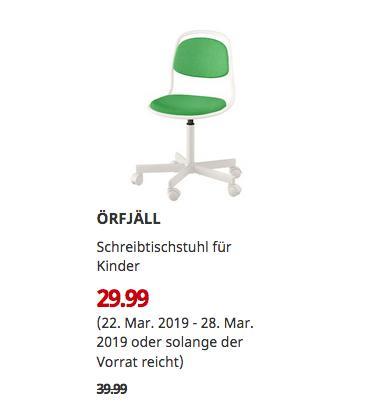 IKEA Berlin-Spandau - ÖRFJÄLL Schreibtischstuhl für Kinder, grün - jetzt 25% billiger