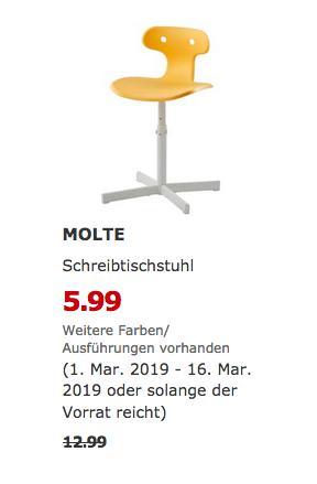 IKEA Berlin-Tempelhof - MOLTE Schreibtischstuhl, gelb - jetzt 54% billiger