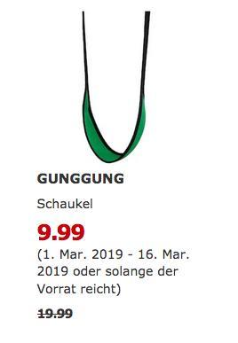 IKEA Berlin-Waltersdorf - GUNGGUNG Schaukel, grün - jetzt 50% billiger