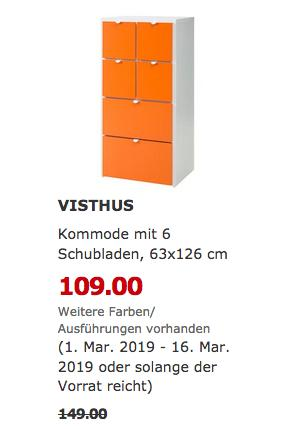 IKEA Berlin-Waltersdorf - VISTHUS Kommode mit 6 Schubladen - jetzt 27% billiger