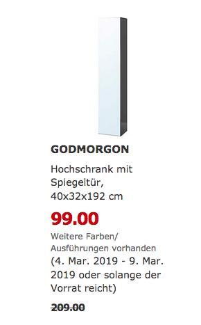 IKEA Bielefeld - GODMORGON Hochschrank mit Spiegeltür, 192 cm - jetzt 53% billiger