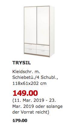 IKEA Bielefeld - TRYSIL Kleiderschrank, weiß - jetzt 17% billiger