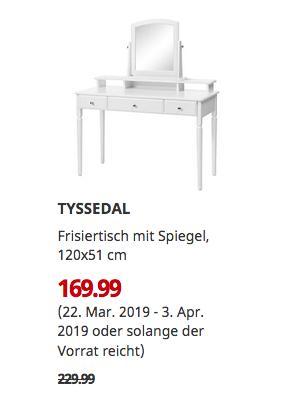 IKEA Bielefeld - TYSSEDAL Frisiertisch mit Spiegel, weiß, 120x51 cm - jetzt 26% billiger