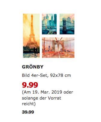 IKEA Bremerhaven - GRÖNBY Bild 4er-Set, Stadtikonen, 92x78 cm - jetzt 75% billiger