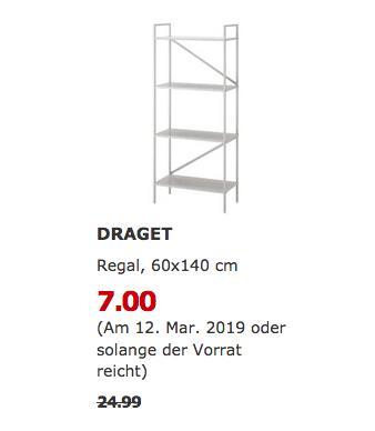 IKEA Brinkum - DRAGET Regal, hellgrau, 60x140 cm - jetzt 72% billiger