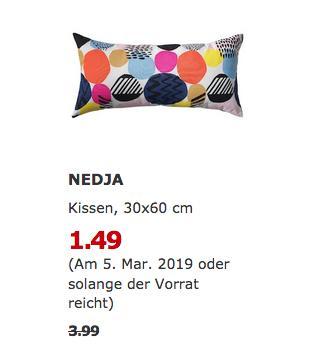 IKEA Brinkum - NEDJA Kissen, bunt, 30x60 cm - jetzt 63% billiger