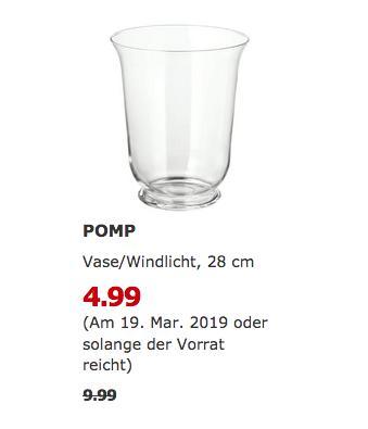 IKEA Brinkum - POMP Vase/Windlicht, 28 cm - jetzt 50% billiger
