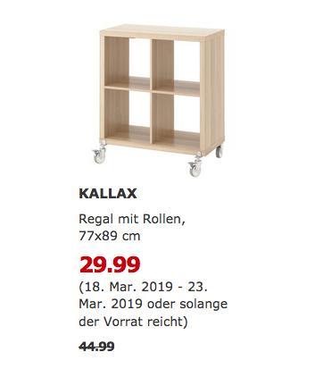 IKEA Chemnitz - KALLAX Regal mit Rollen, 77x89 cm - jetzt 33% billiger