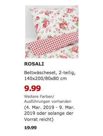 IKEA Chemnitz - ROSALI Bettwäscheset, 2-teilig, 140x200/80x80 cm - jetzt 50% billiger