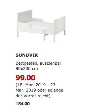 IKEADüsseldorf - SUNDVIK Bettgestell, weiß, 80x200 cm - jetzt 36% billiger