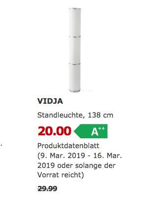 IKEA Dortmund - VIDJA Standleuchte, weiß, 138 cm - jetzt 33% billiger