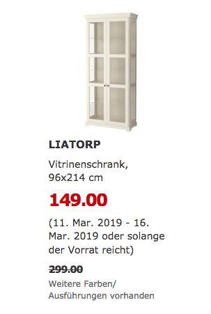 IKEA Erfurt - LIATORP Vitrinenschrank, weiß, 96x214 cm - jetzt 50% billiger