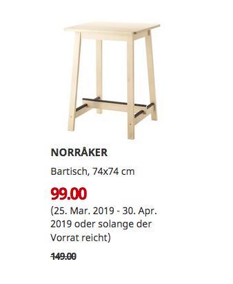 IKEA Essen - NORRAKER Bartisch, weiß Birke, 74x74 cm - jetzt 34% billiger