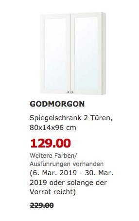 IKEA Freiburg - GODMORGON Spiegelschrank 2 Türen, Kasjön weiß - jetzt 44% billiger