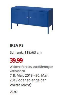 IKEA Freiburg - IKEA PS Schrank, blau, 119x63 cm - jetzt 50% billiger