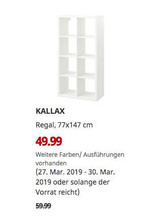 IKEA Köln-Godorf - KALLAX Regal, weiß, 77x147 cm - jetzt 17% billiger