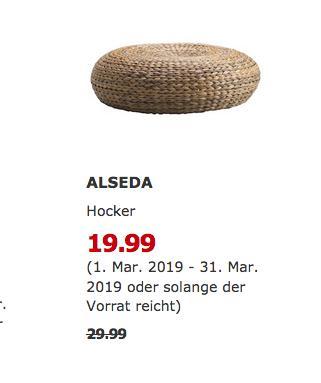 IKEA Kaarst - ALSEDA Hocker, Bananenstaudenfaser,60 cm, 18 cm hoch - jetzt 33% billiger