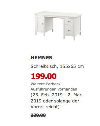 IKEA Kaarst - HEMNES Schreibtisch, weiß - jetzt 17% billiger