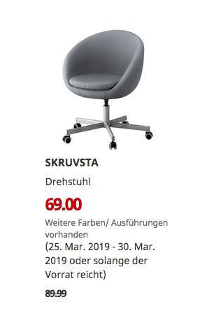 IKEA Kaarst - SKRUVSTA Drehstuhl, Vissle grau - jetzt 23% billiger