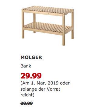 IKEA Kaiserslautern - MOLGER Bank, Birke - jetzt 25% billiger