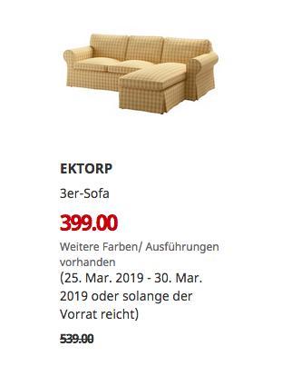 IKEA Kassel - EKTORP 3er-Sofa, gelb - jetzt 26% billiger