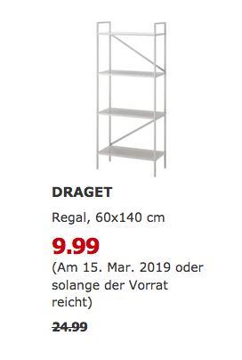 IKEA Kiel - DRAGET Regal, 60x140 cm,hellgrau - jetzt 60% billiger