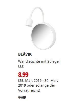 IKEA Ludwigsburg - BLAVIK Wandleuchte mit Spiegel, LED - jetzt 40% billiger