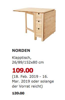IKEA Ludwigsburg - NORDEN Klapptisch, Birke - jetzt 22% billiger