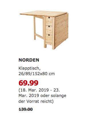 IKEA Ludwigsburg - NORDEN Klapptisch, Birke, 26/89/152x80 cm - jetzt 50% billiger